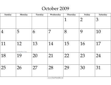 calendar 2009  october